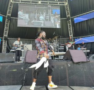Timaya pictured performing at a concert