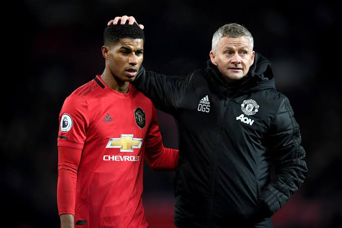 Solsjkaer pictured with Marcus Rashford